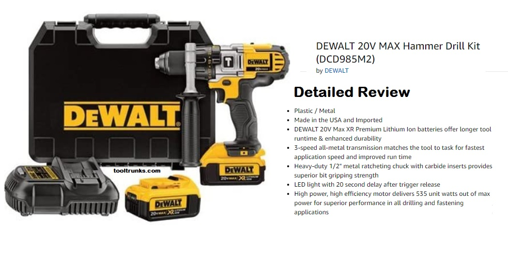 DEWALT DCD985M2 20V MAX Hammer Drill Kit | Reviews